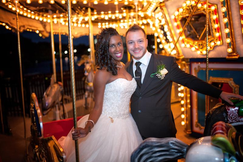 Wedding couple on carousel